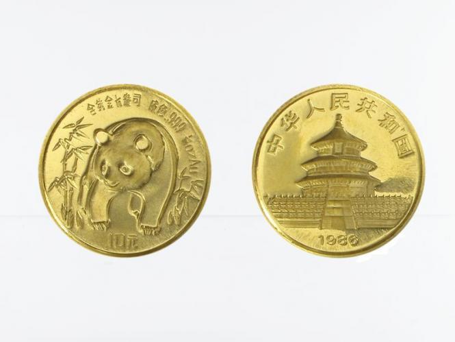 China 10 Yu  Panda 1986, 1/10 Unze Feingold