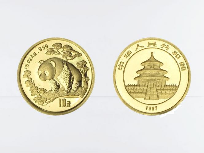 China 10 Yu  Panda 1997, Typ I, 1/10 Unze Feingold