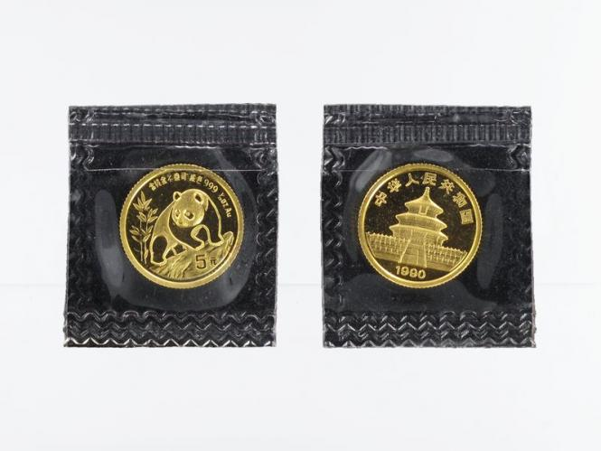 China 5 Yu  Panda 1990, 1/20 Unze Feingold