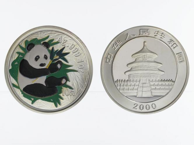 China 10 Yu Panda  2000 coloriert, 1 oz  Silber