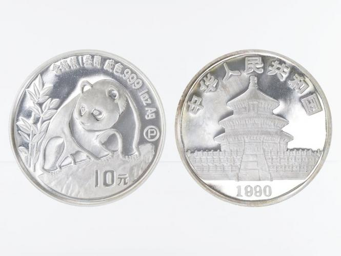 China 10 Yu Panda  1990, 1 oz  Silber PP