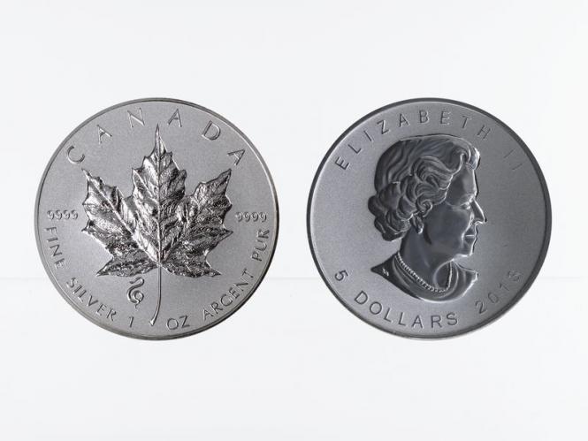Kanada 5$ Maple Leaf 2013, Privy Mark Schlange
