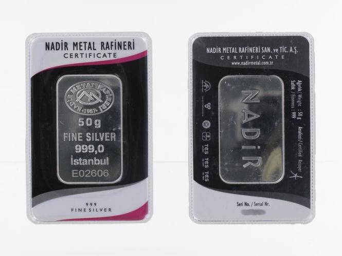 50 Gramm Silberbarren 999  Feinsilber Zertifikat
