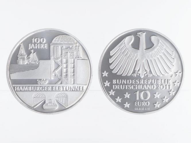 Hamburger Elbtunnel 10 € Silber 2011, PP