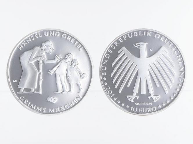 Grimms Märchen Hänsel +Gretel 10 € Silber 2014, PP