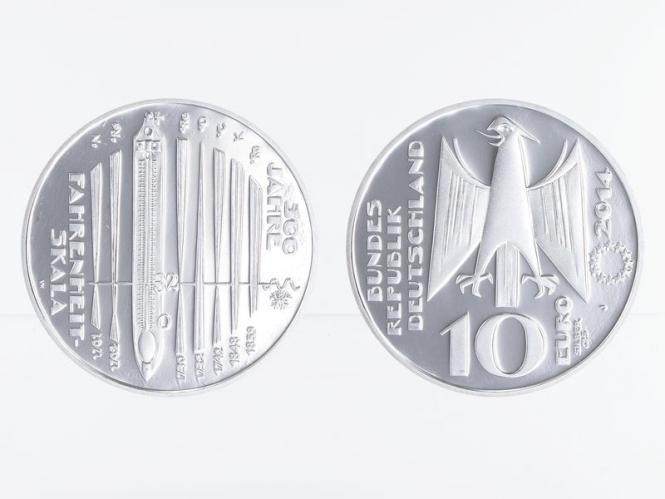 Fahrenheit-Skala 10 € Silber 2014, PP