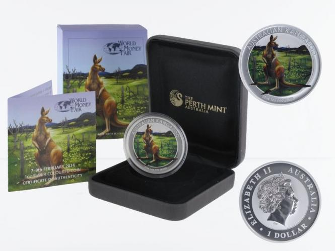 Australien 1$ Känguru 2014, 1 oz WMF farbig (B+C)