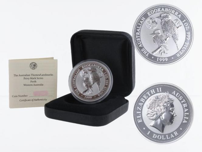 Australien 1$ Kookaburra 1999, 1 oz Privy Perth Silber, B+C