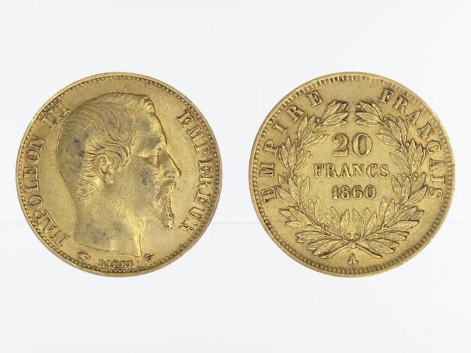 Frankreich 20 Fr. Napoleon III/ Kranz 1860 (A) Paris