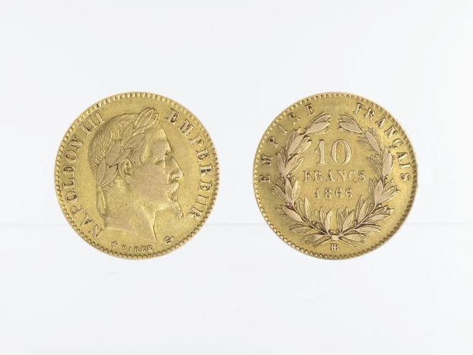 Frankreich 10 Fr. Napoleon III/ Kranz 1866 (BB)