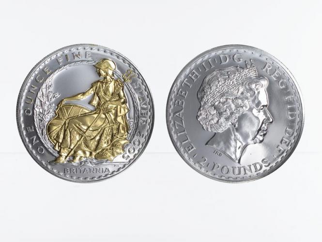 GB 2 Pfd. Silber Britannia 2005 gildet, 1 oz