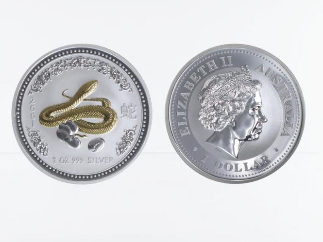 Australien 1 $ Schlange Lunar I  2001, 1 oz  Silber, gildet