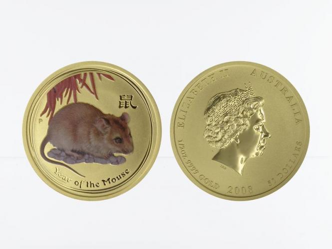 Australien 50 $ Lunar II Maus, 1/2 Unze 2008, coloriert