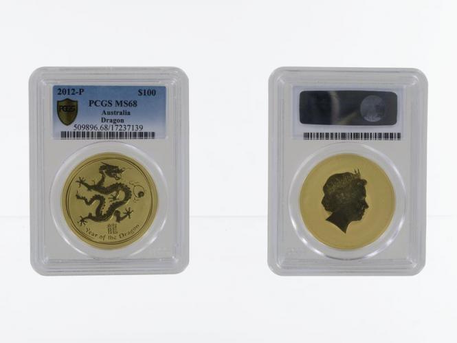 Australien 100 $ Lunar II  Drache, 1 Unze  2012, Slab MS68