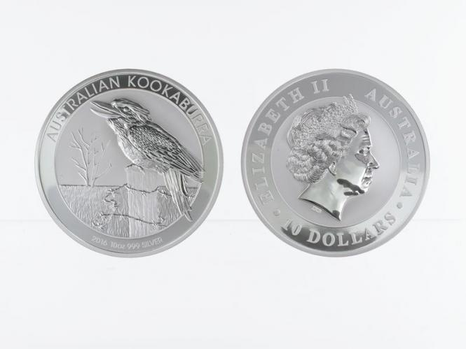 Australien 10$ Kookaburra 2016, 10 oz  Silber