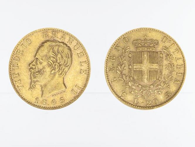Italien Emanuele II . 1865, 20 Lire Gold