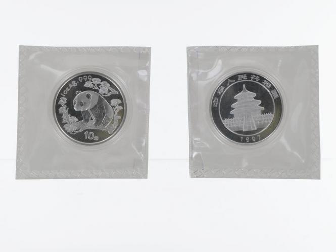 China 10 Yu Panda  1997 (Typ 1), 1 oz  Silber Folie