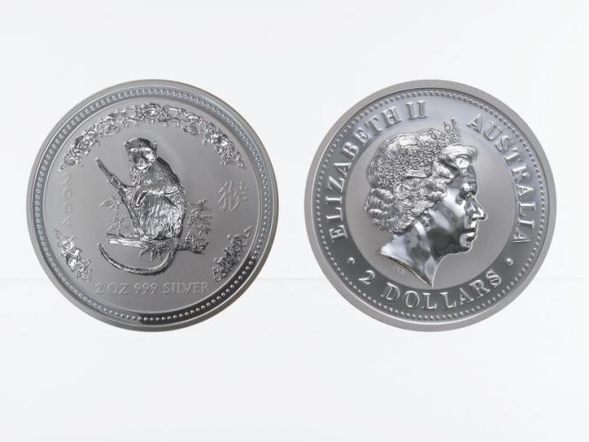 Australien 2$ Affe Lunar I  2004, 2 oz  Silber