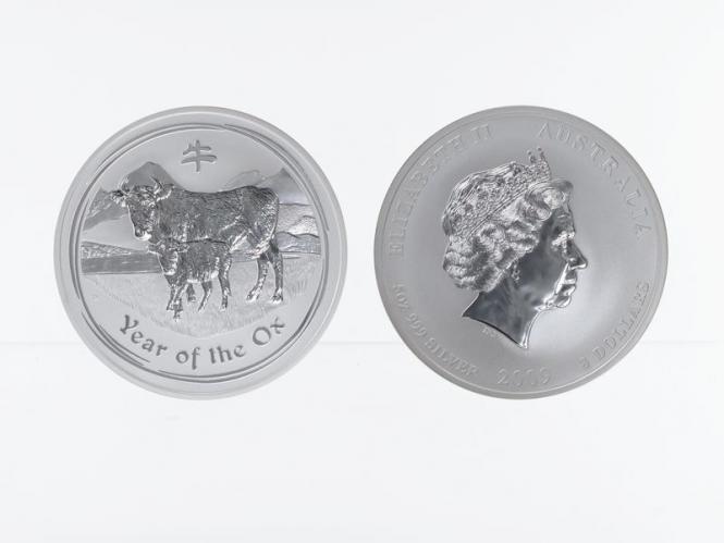 Australien 8$ Ochse Lunar II  2009, 5 oz  Silber