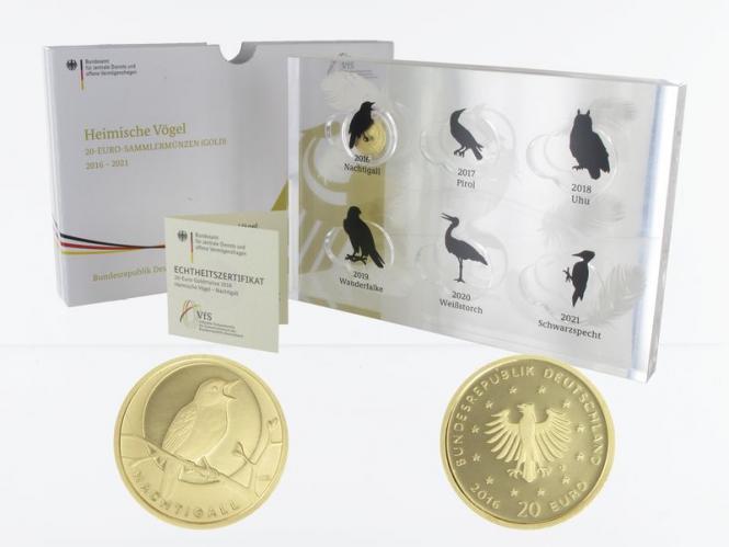 BRD 20 Euro Gold, 2016 F,  Heimische Vögel Nachtigall