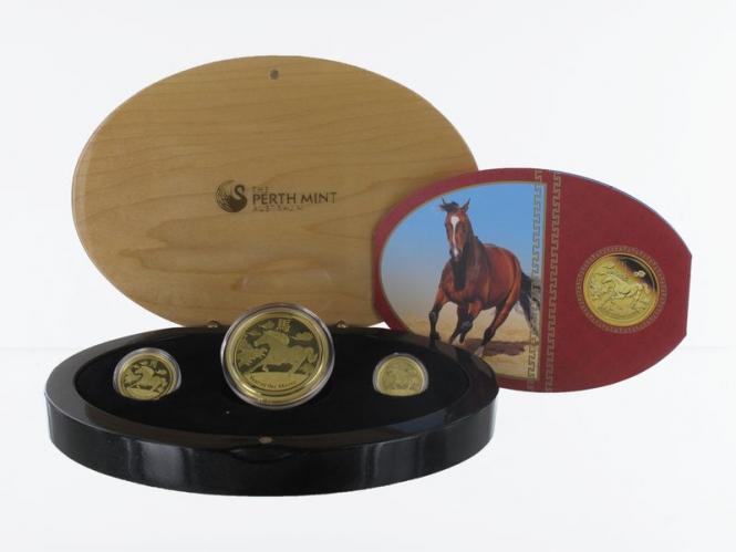 Australien Lunar II  Pferd 2014, 3 Münzen, PP