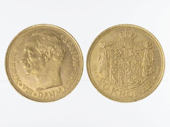 Dänemark Frederik VIII  1910, 20 Kroner Gold