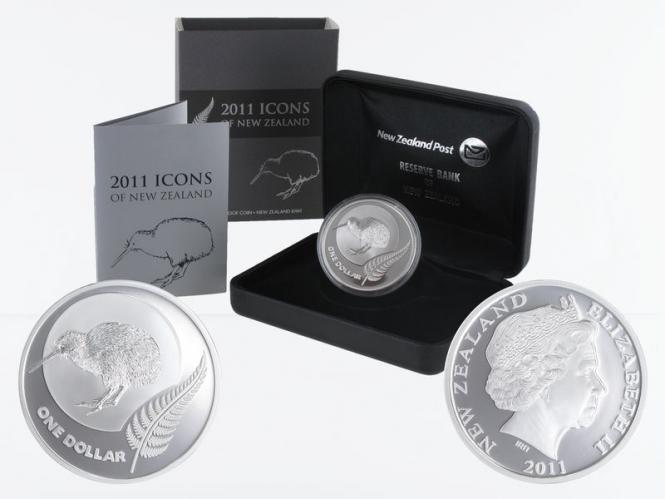 Neuseeland 1$ Kiwi 2011, 1 oz  Silber proof (B+C)