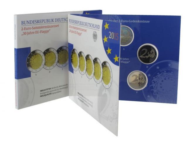2015 30 J. Europäische Flaggen (5) A D F G J kpl. PP, Faltblister