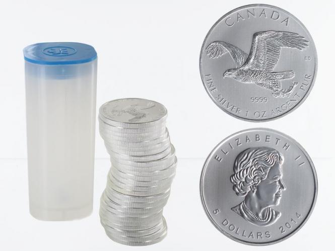 Kanada 5$ Birds of Prey Bald Eagle 2014 Tube,  25 x 1 Unze,