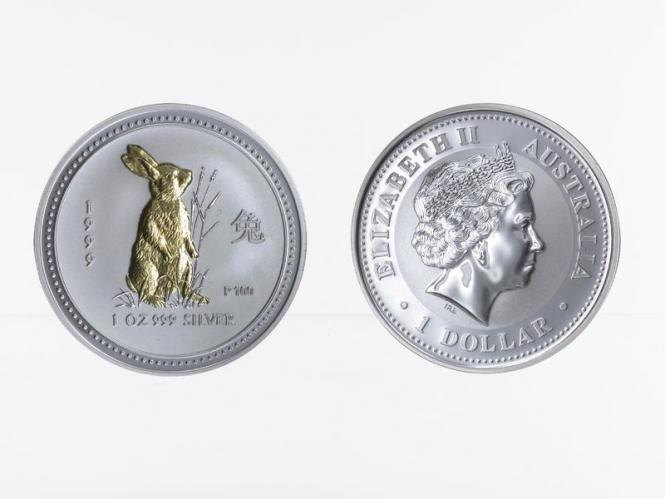 Australien 1 $ Hase Lunar I  1999, 1 oz  Silber, gildet