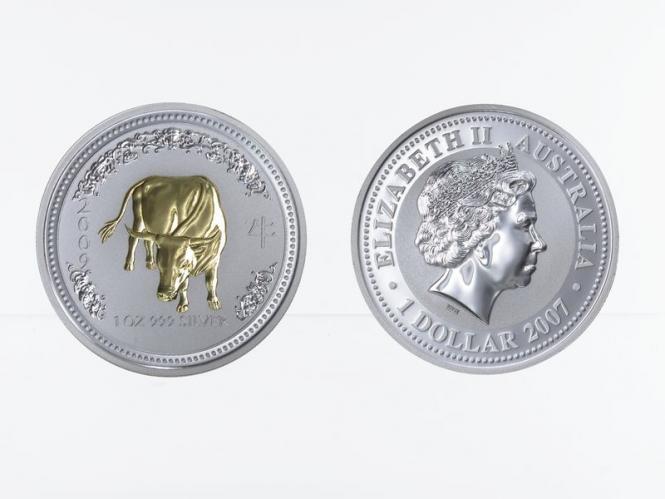 Australien 1 $ Ochse Lunar I  2009 gildet, 1 oz  Silber
