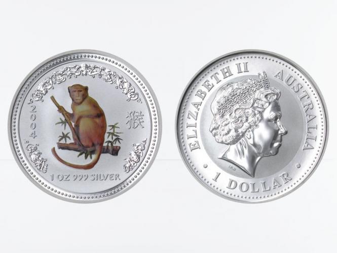 Australien 1 $ Affe Lunar I  2004 coloriert, 1 oz  Silber