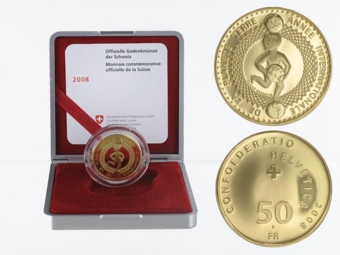 Schweiz 50 Franken Jahr des Planeten Erde 2008, proof