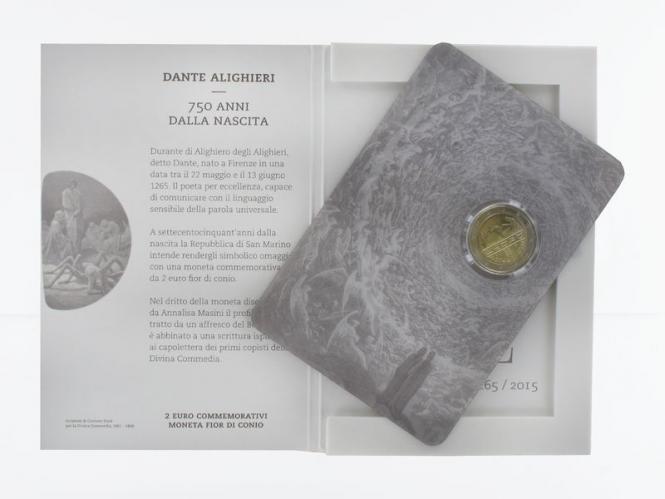 San Marino 2 Euro Münze, 2015, Dante Alighieri Folder