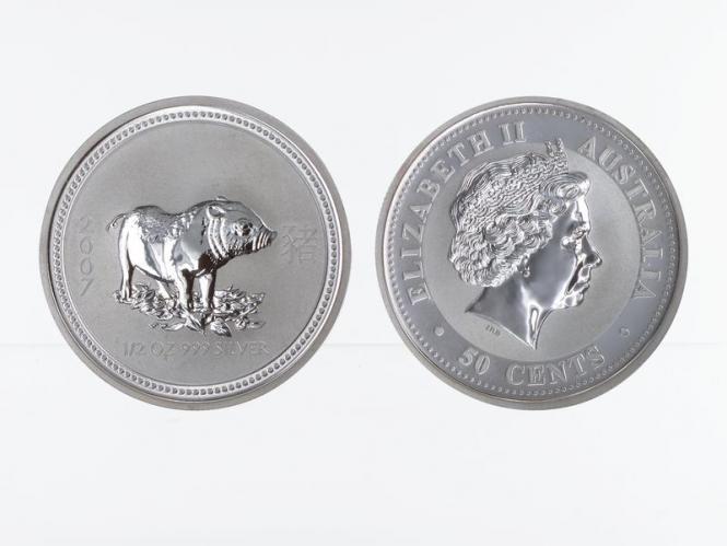 Australien 1/2$ $ Schwein Lunar I  2007, 1/2 oz  Silber