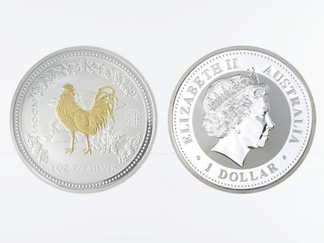 Australien 1 $ Hahn Lunar I  2005 gildet, 1 oz  Silber