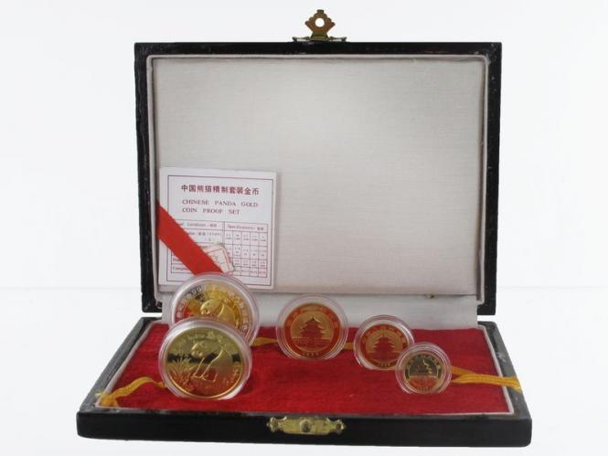 Panda Set 1993 + 1x Bimetall, 5 Münzen kpl. Box + CoA PP