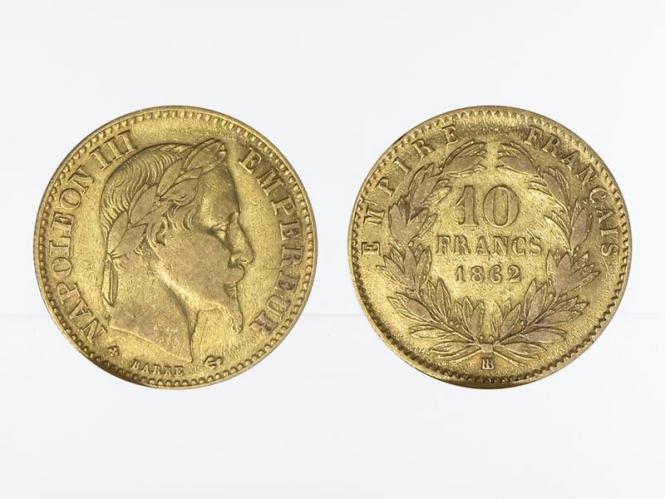 Frankreich 10 Fr. Napoleon III/ Kranz 1862 (BB)