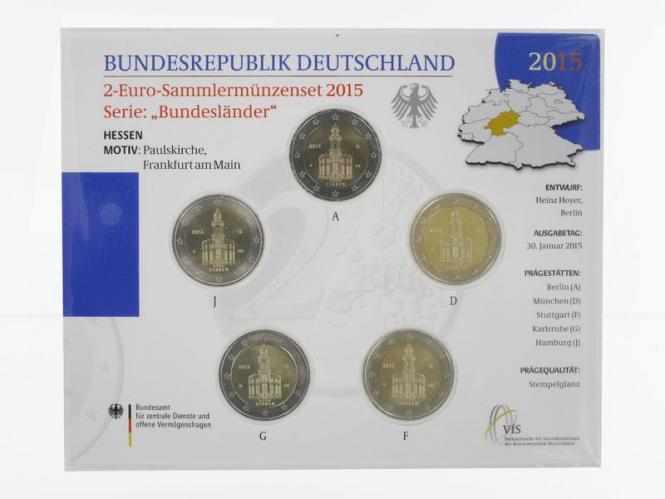 2015 Paulskirche Frankfurt  (5) A D F G J kpl. Stgl., Blister