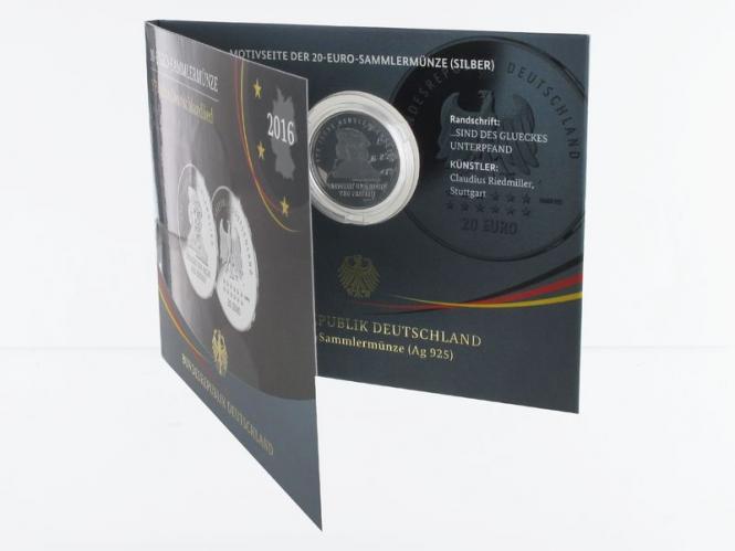 20 € 175 Jahre Deutschlandlied  Silber 2016, Blister PP