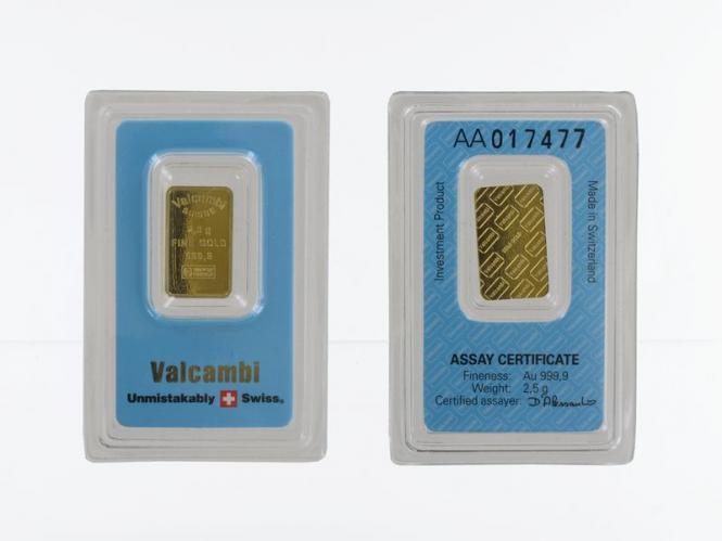 2,5 Gramm 999,9 Feingold Zertifikat