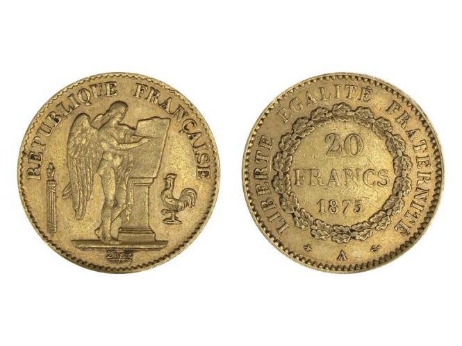 Frankreich 20 Fr. Genius stehender Engel 1875