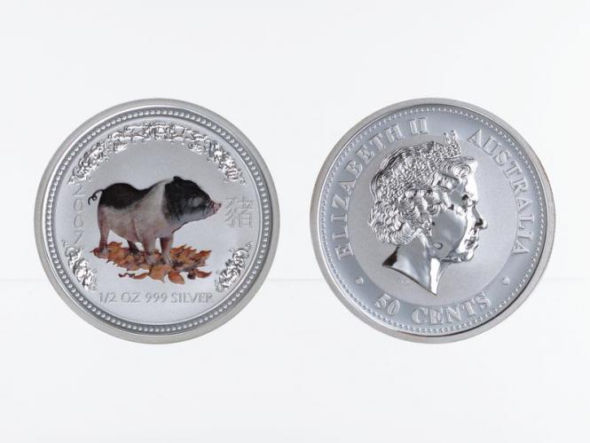 Australien 1/2$ $ Schwein Lunar I  2007, 1/2 oz coloriert Silber