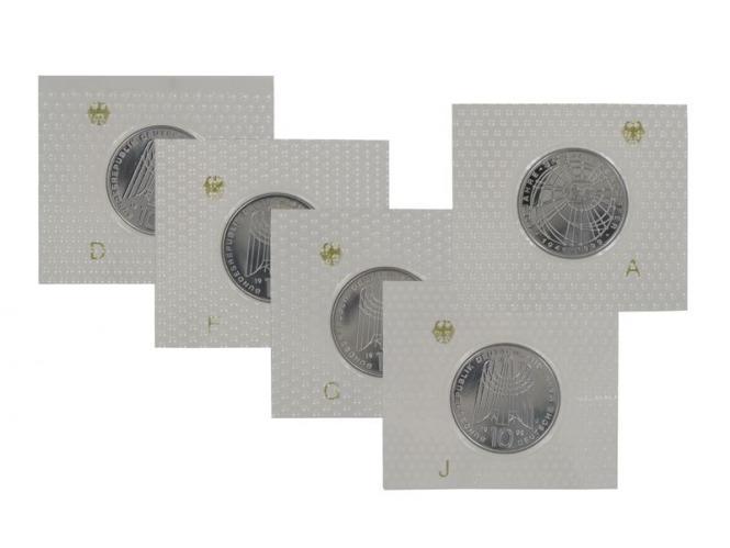 50 J. SOS Kinderdörfer 1999 (5), 10 DM Silber, PP Folie kpl.