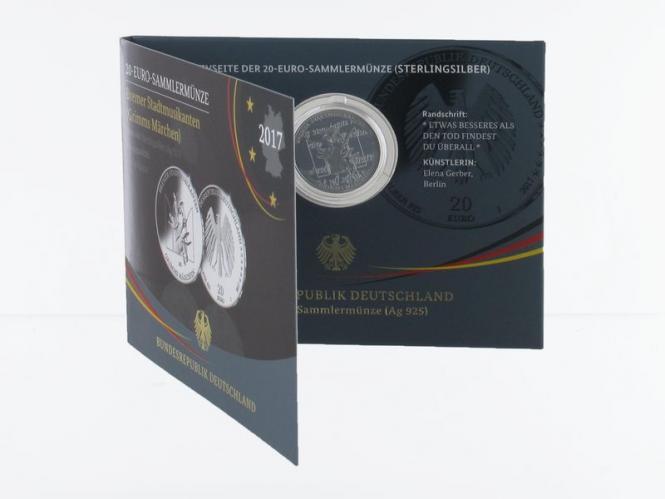 20 € Grimms Märchen Bremer Stadtmusikant Silber 2017, Blister PP