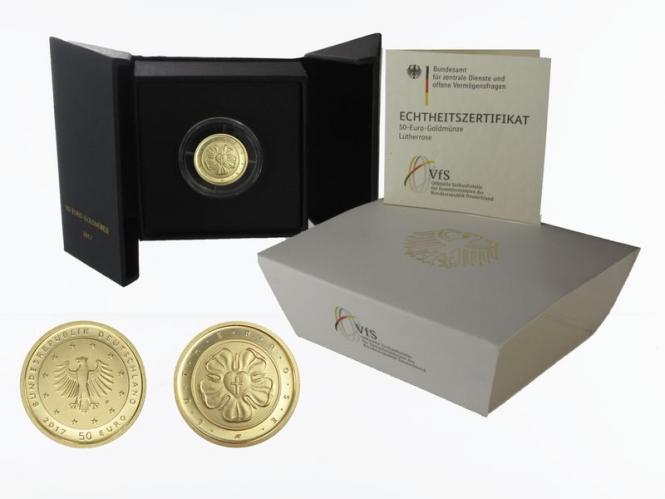 BRD 50 Euro Gold, 2017 F, Lutherrose