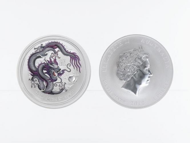 Australien 1$ Drache Lunar II  2012, coloriert, grau/lila