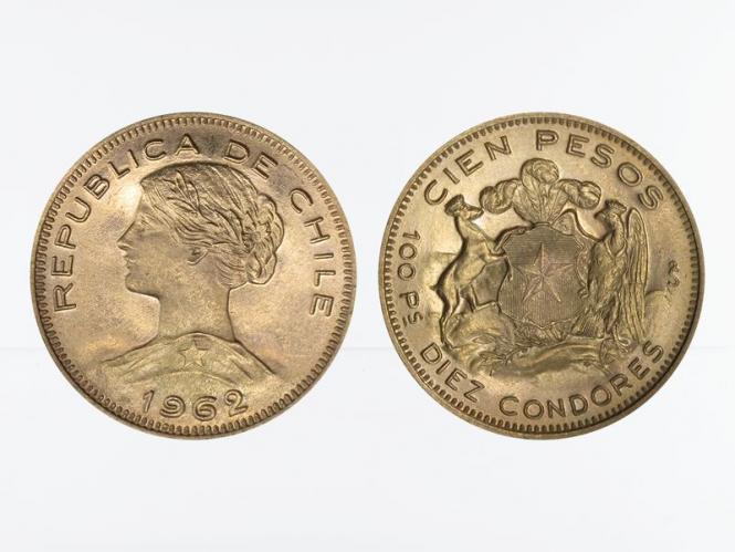 Chile 100 Pesos Freiheitskopf 1962