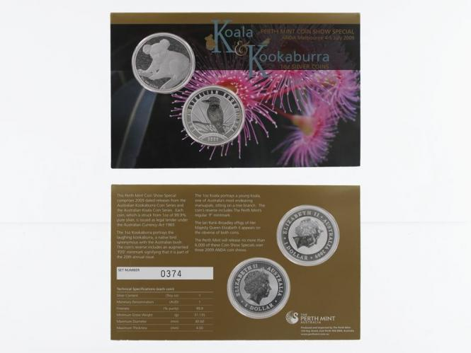 Australien 1$ Koala+Kookaburra 2009, Perth Mint Coin Show Blister