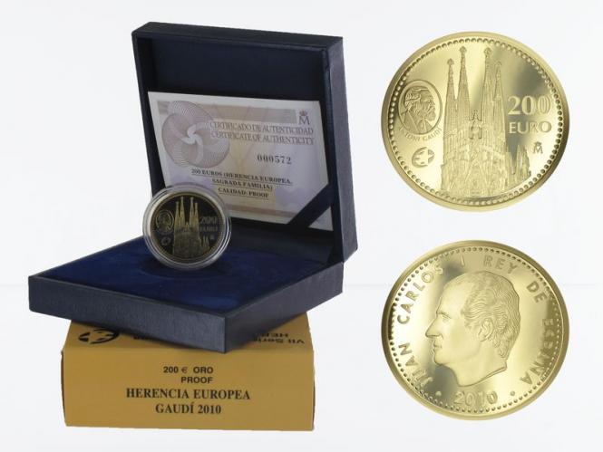 Spanien 200 Euro Gold, 2010,  Gaudi Kathedrale